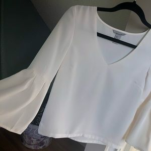 Stunning H&M Ivory Blouse Size 2 Bell Sleeves